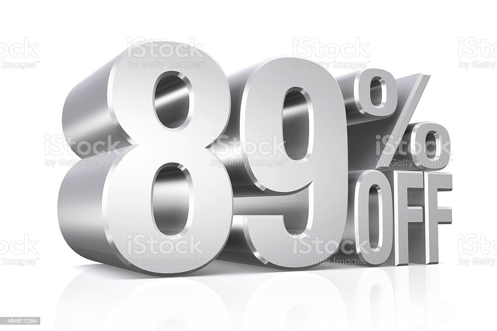 3D render silver text 89 percent off. stock photo