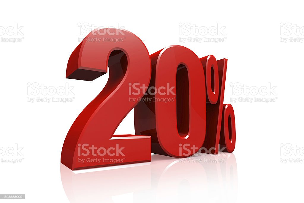 3D render text in 20 percent in red stock photo