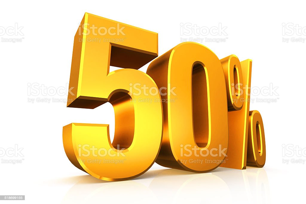 3D render text in 50 percent in gold stock photo