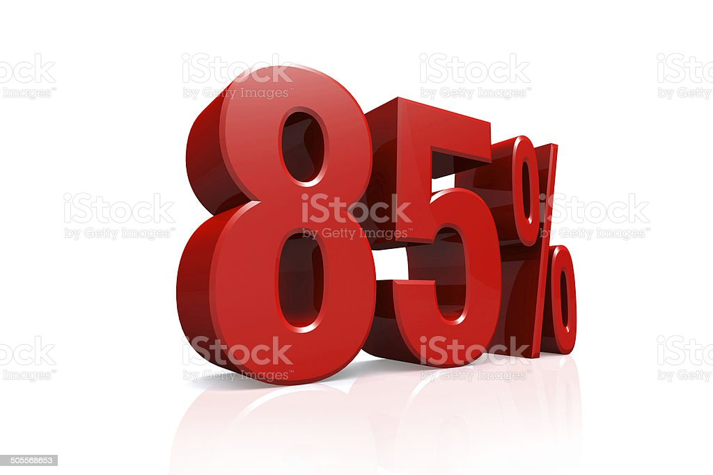 3D render text in 85 percent in red stock photo