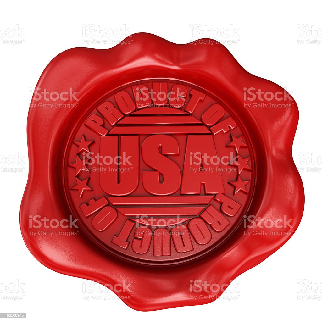 3D render Wax Seal with product of USA label stock photo