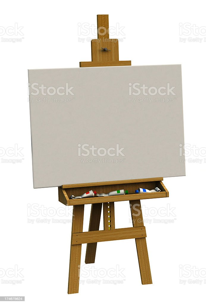 3D rendered blank canvas on easel royalty-free stock photo