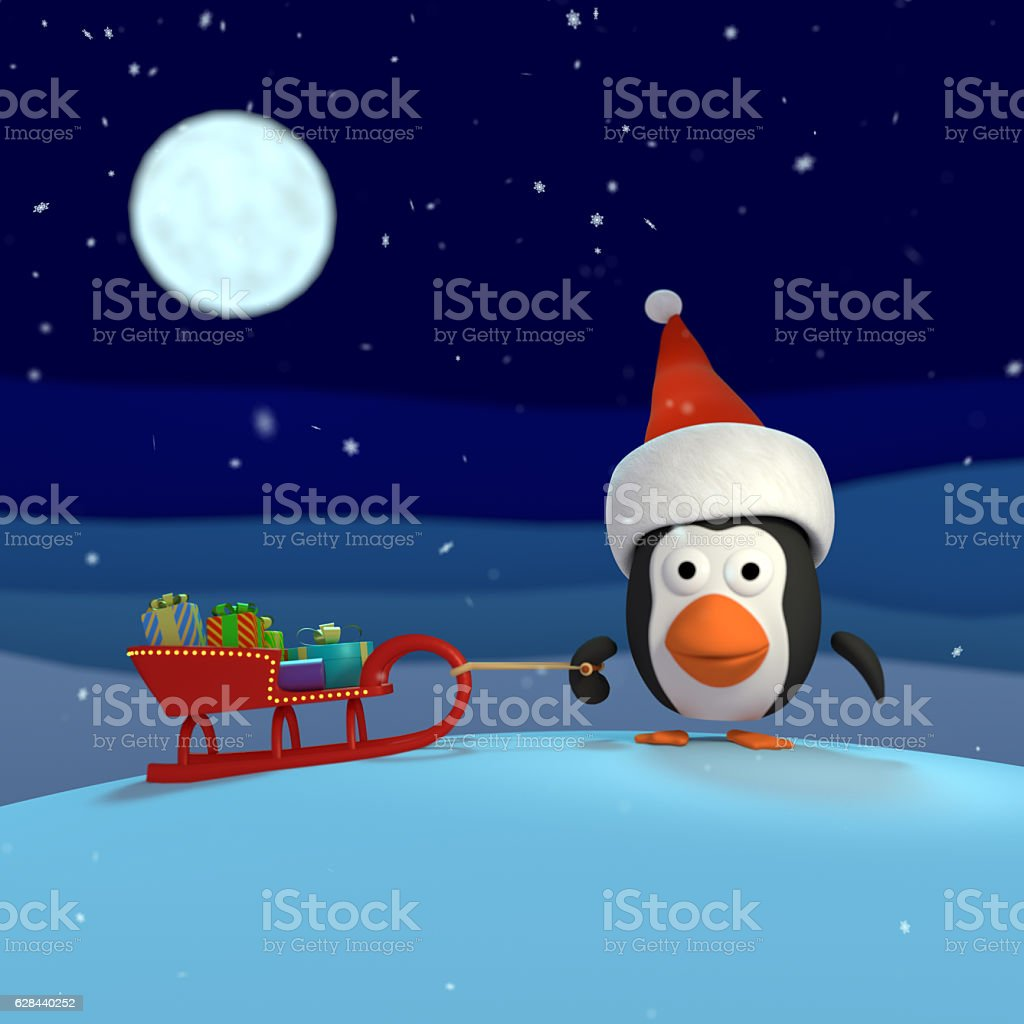 3D rendered Christmas Penguin stock photo