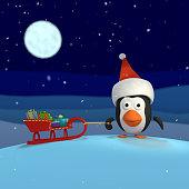 3D rendered Christmas Penguin