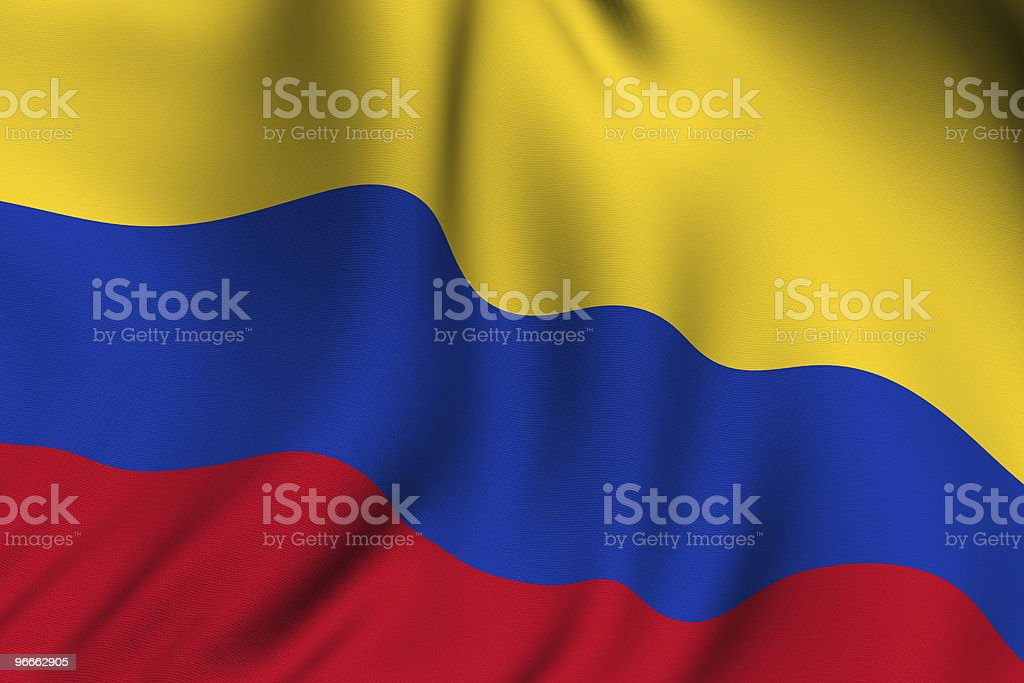 Rendered Colombian Flag royalty-free stock photo