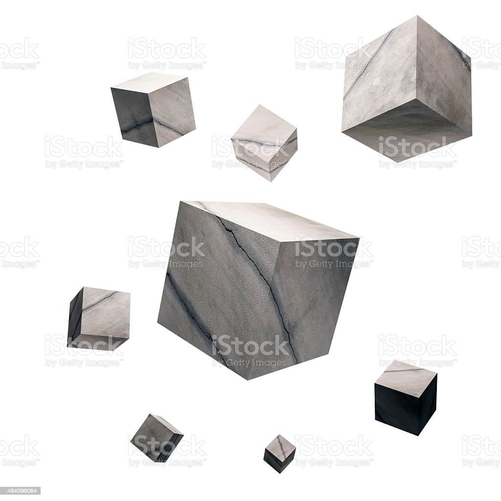 3D rendered, Cracked concrete cubes, isolated on white background stock photo