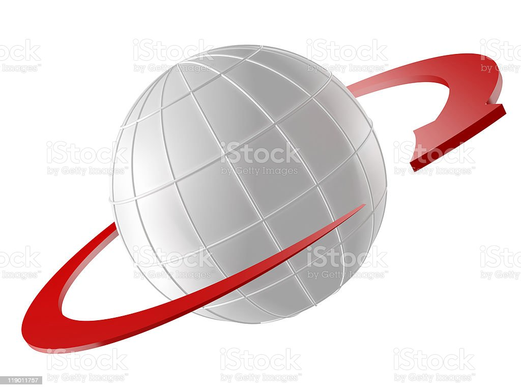 3D rendered Globe with red arrow as orbit royalty-free stock photo