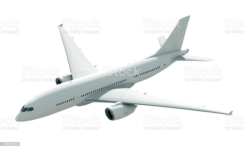 Rendered image of a white airplane royalty-free stock photo