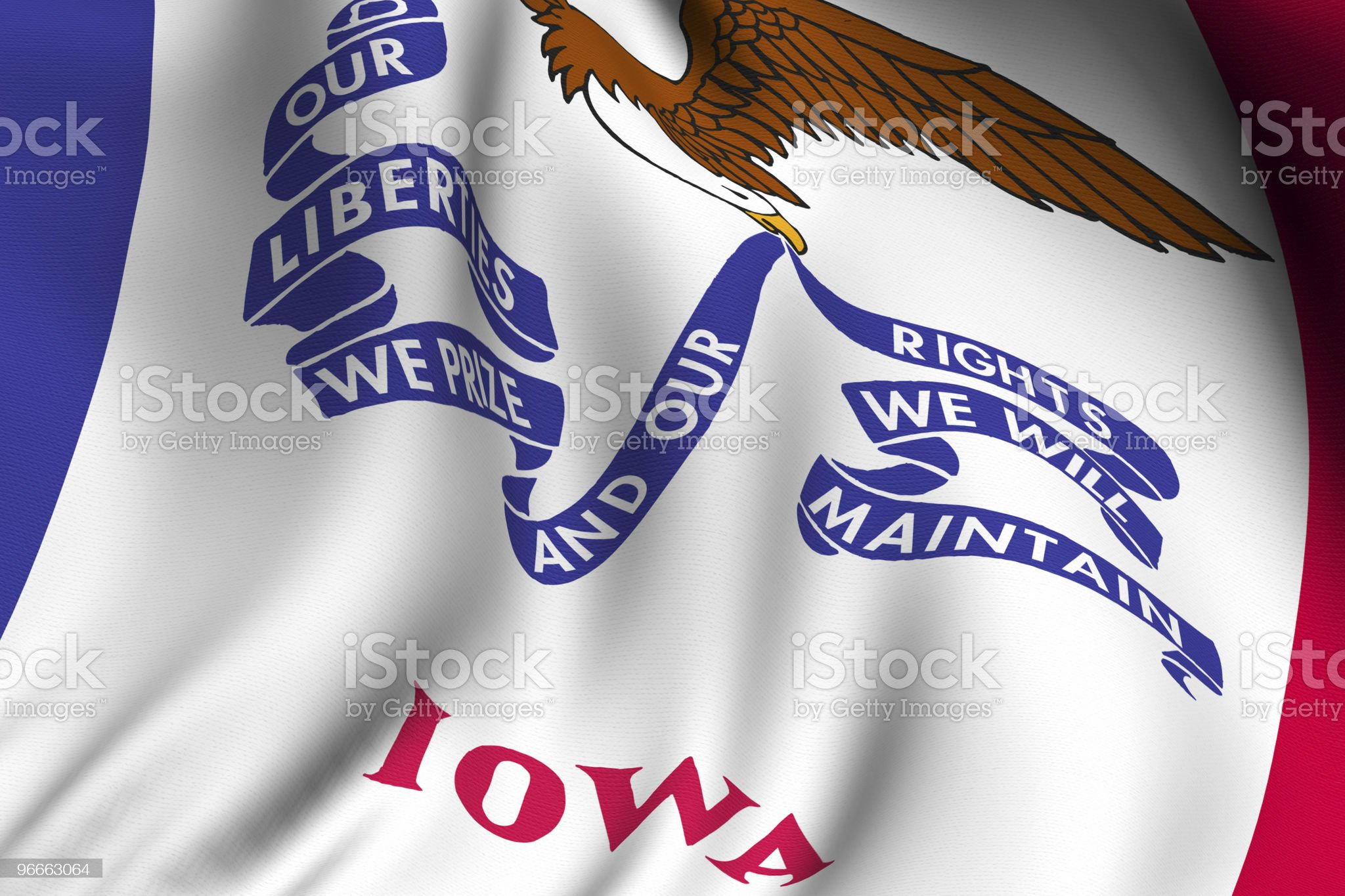 Rendered Iowa Flag royalty-free stock vector art