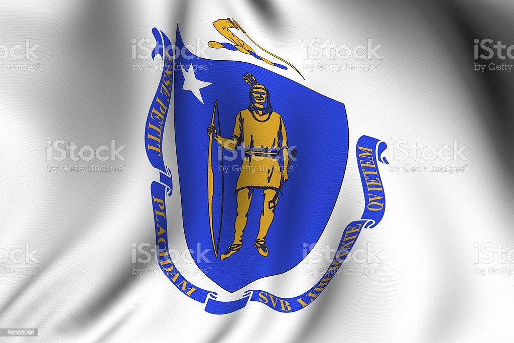 Rendered Massachusetts Flag royalty-free stock photo