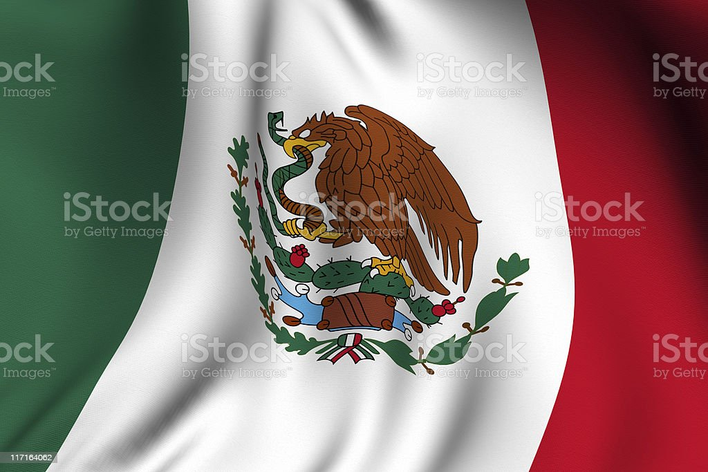 Rendered Mexican Flag stock photo