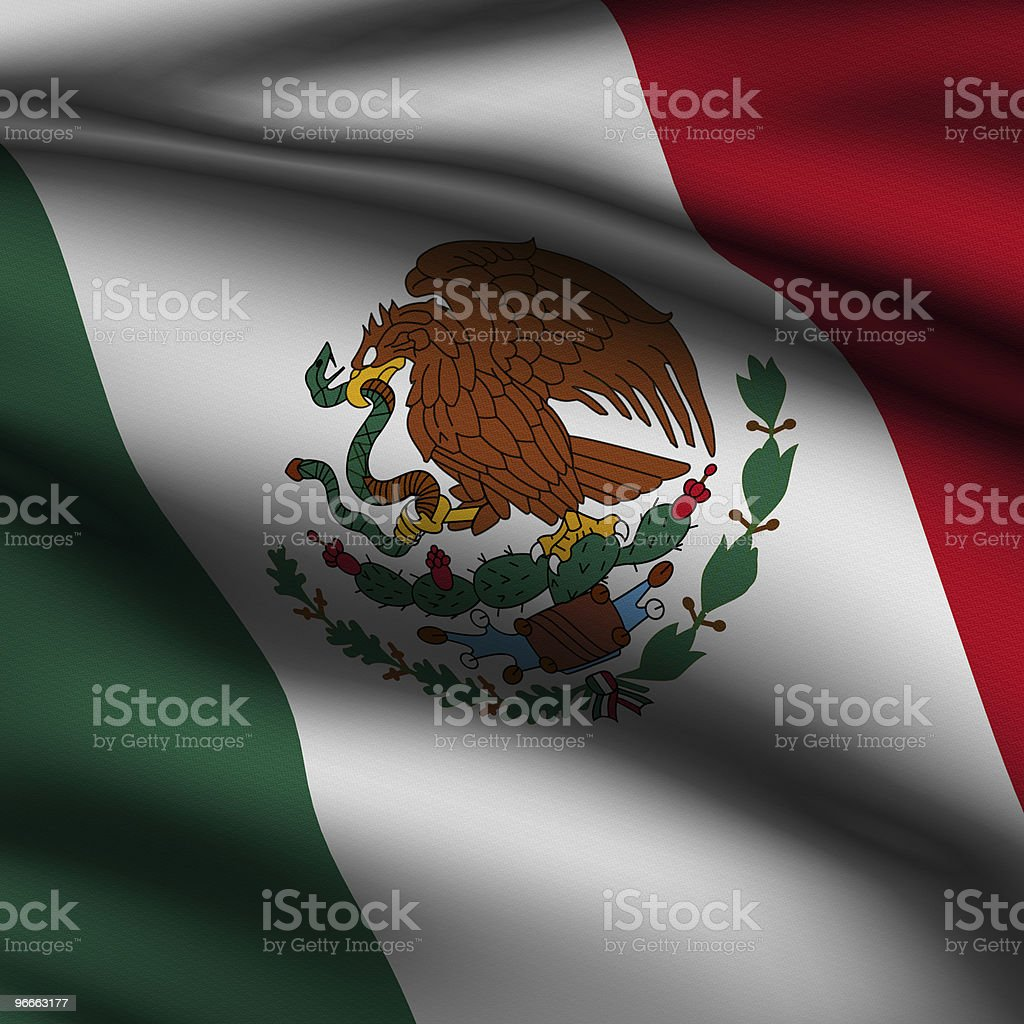 Rendered Mexican Square Flag stock photo