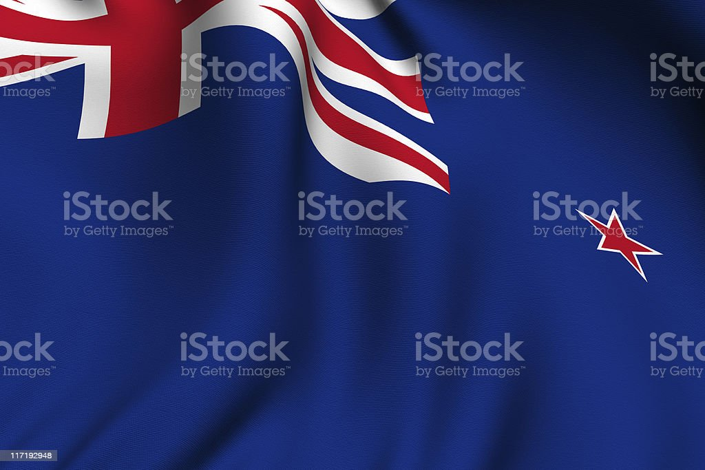 Rendered New Zealand Flag royalty-free stock photo