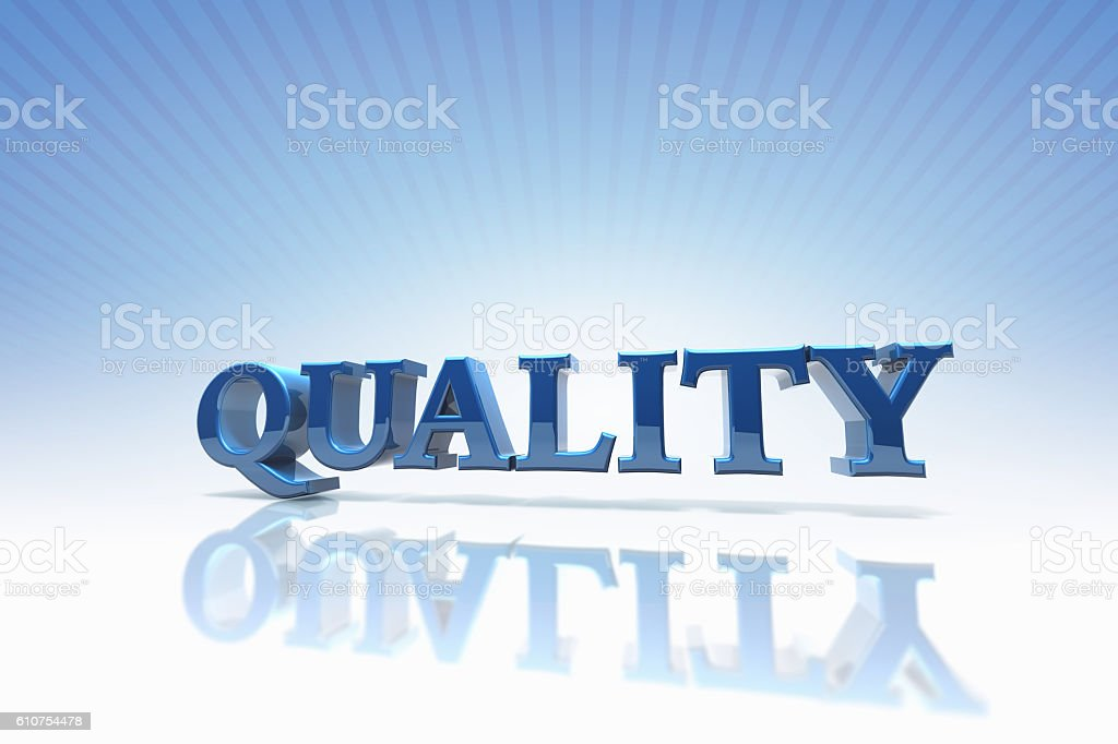 3D Rendered Quality Text stock photo