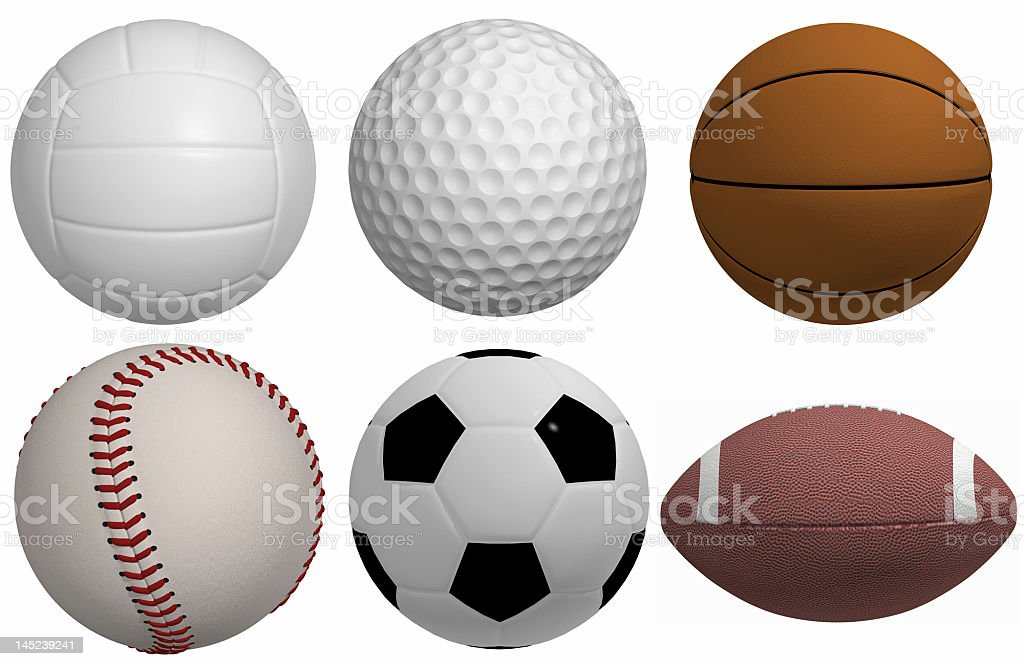 3D rendered sports balls royalty-free stock photo