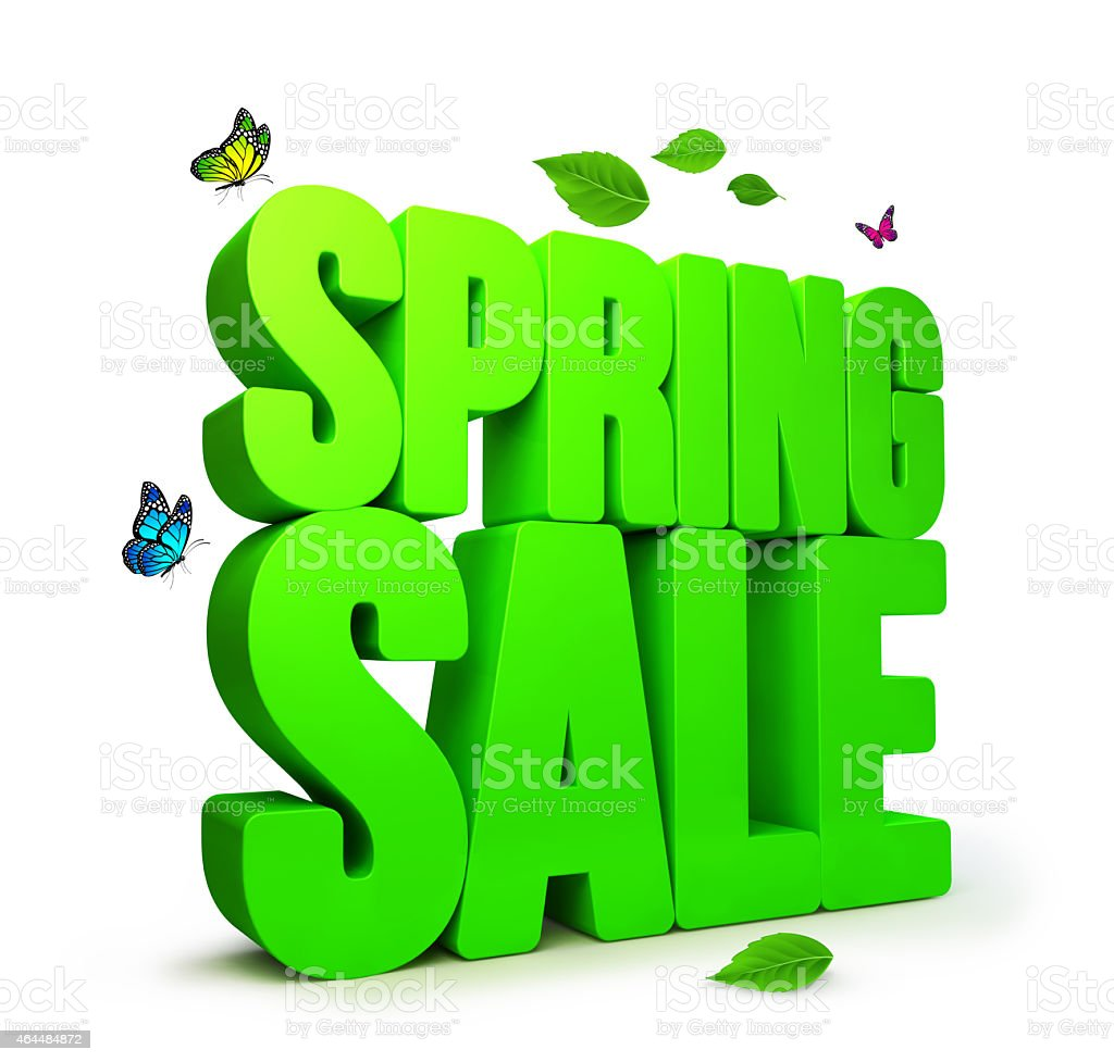 3D Rendered Spring Sale Word Isolated with Clipping Paths stock photo