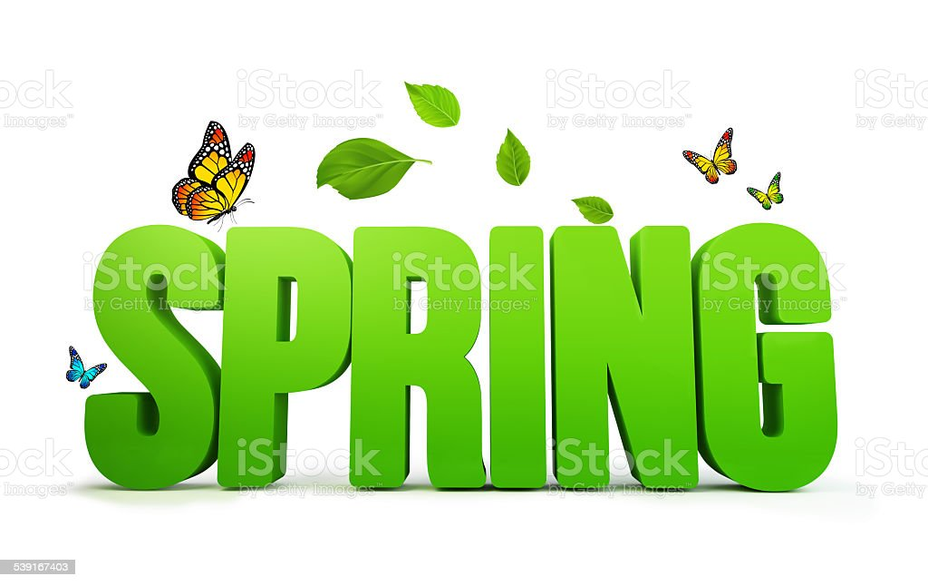 3D Rendered Spring Word Isolated in White Background stock photo