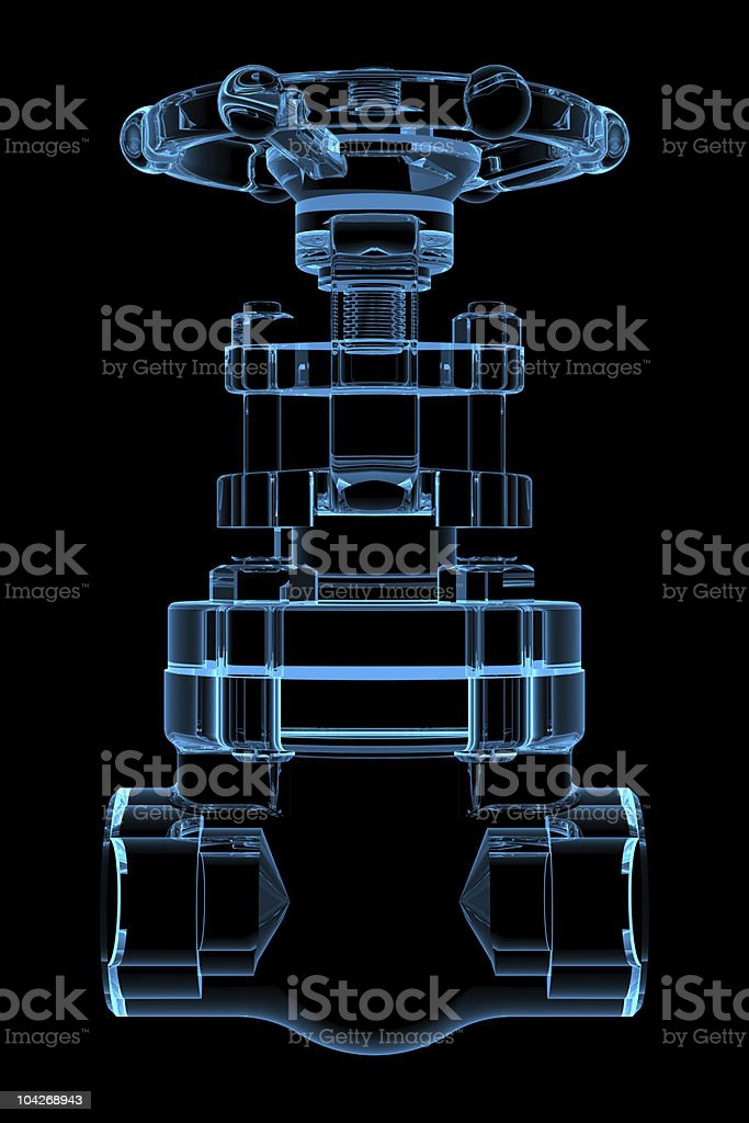 3D rendered x-ray blue transparent valve royalty-free stock photo