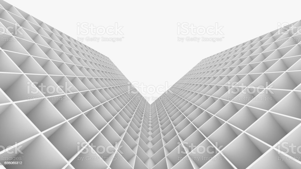 3D Rendering abstract building isolated on white background stock photo