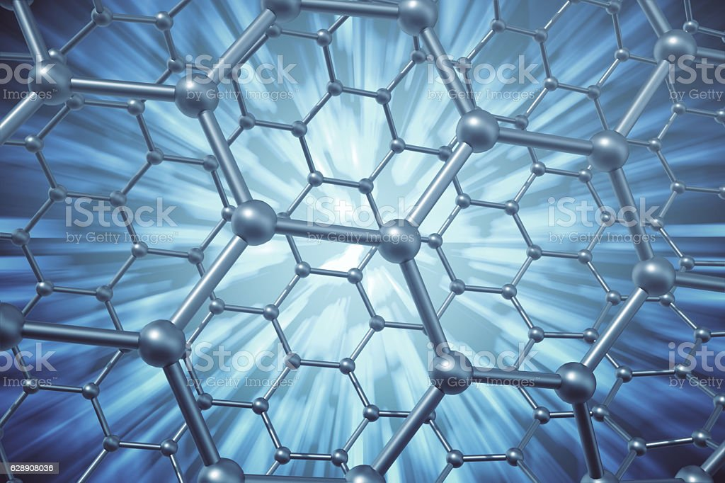 rendering abstract nanotechnology hexagonal geometric form close-up, concept graphene stock photo