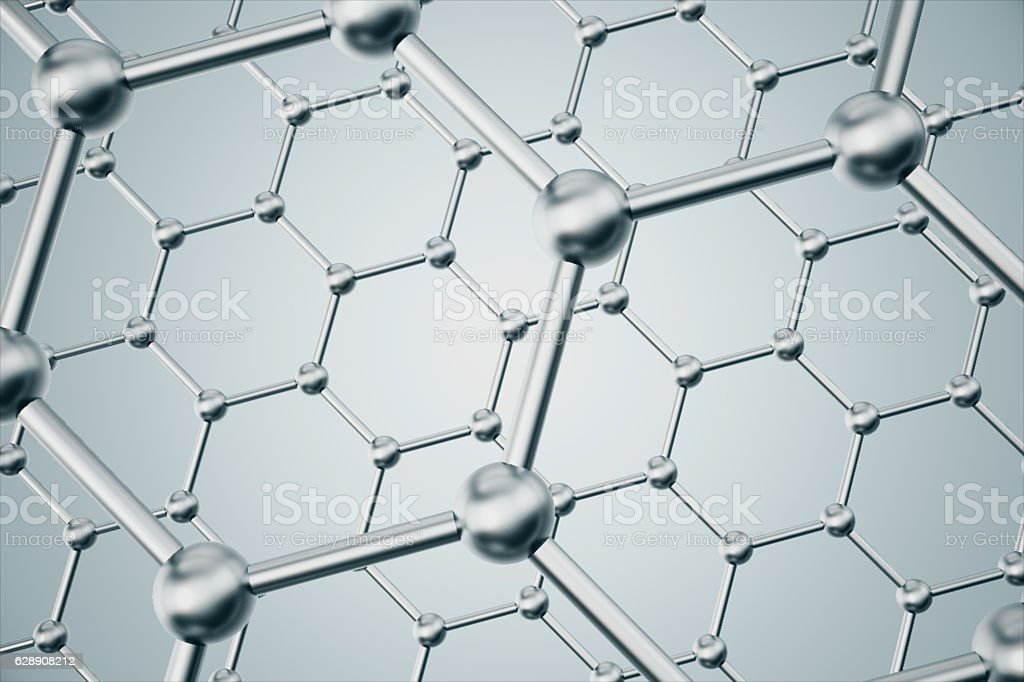 rendering abstract nanotechnology hexagonal geometric form close-up, concept graphene vector art illustration