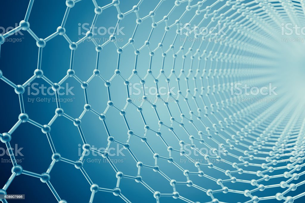 rendering abstract tube nanotechnology hexagonal geometric form close-up, concept stock photo