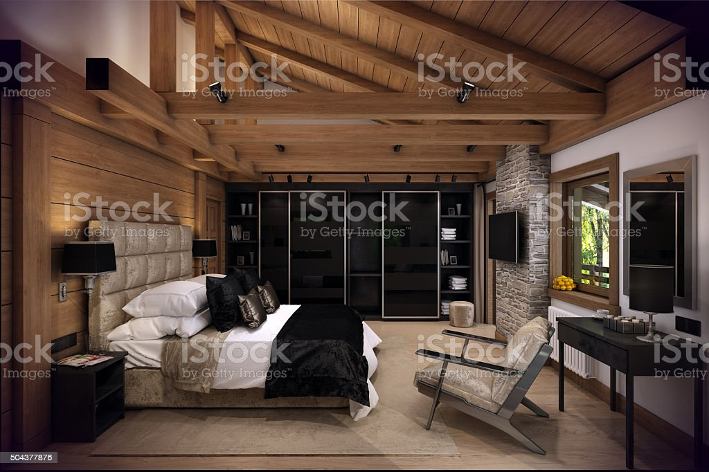 3D rendering bedroom house in the mountain stock photo