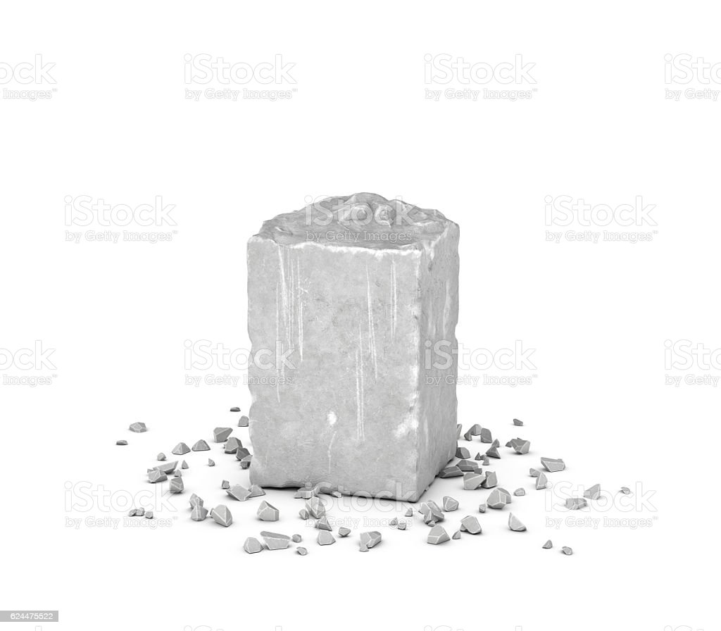 Rendering big rectangular block of gray rock and its chips stock photo