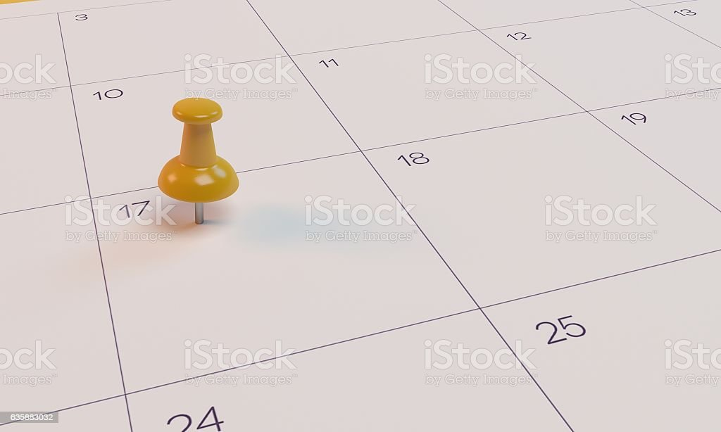 3D Rendering Calendar and yellow pin stock photo