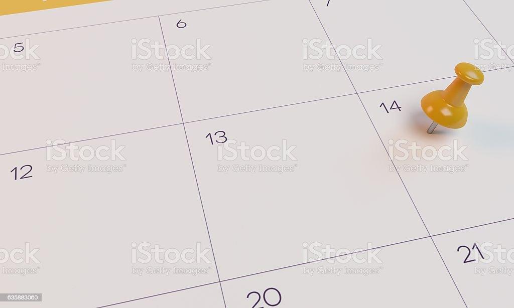 3D Rendering Calendar and yellow pin stock photo