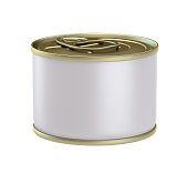 3D Rendering canned Food isolated on a white background