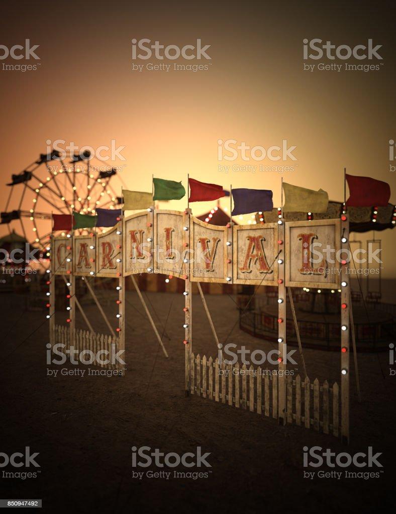 3D rendering carnival night scene stock photo