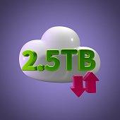 3D Rendering Cloud Data Upload Download illustration 2.5 TB
