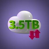 3D Rendering Cloud Data Upload Download illustration 3.5 TB