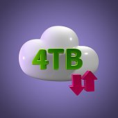 3D Rendering Cloud Data Upload Download illustration 4 TB