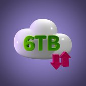 3D Rendering Cloud Data Upload Download illustration 6 TB