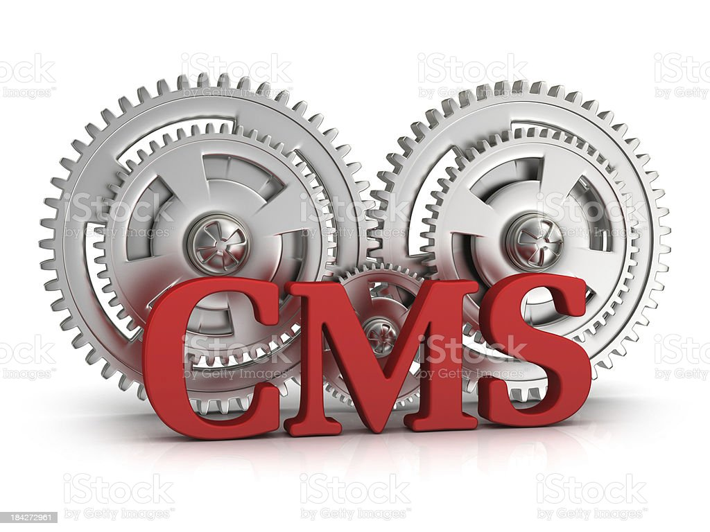 3D rendering, CMS with gears on white background stock photo