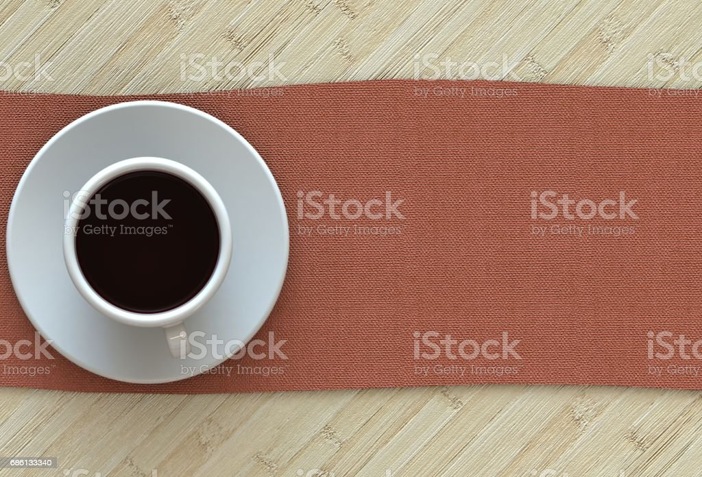 3D rendering coffee cup with red fabric on wood table stock photo