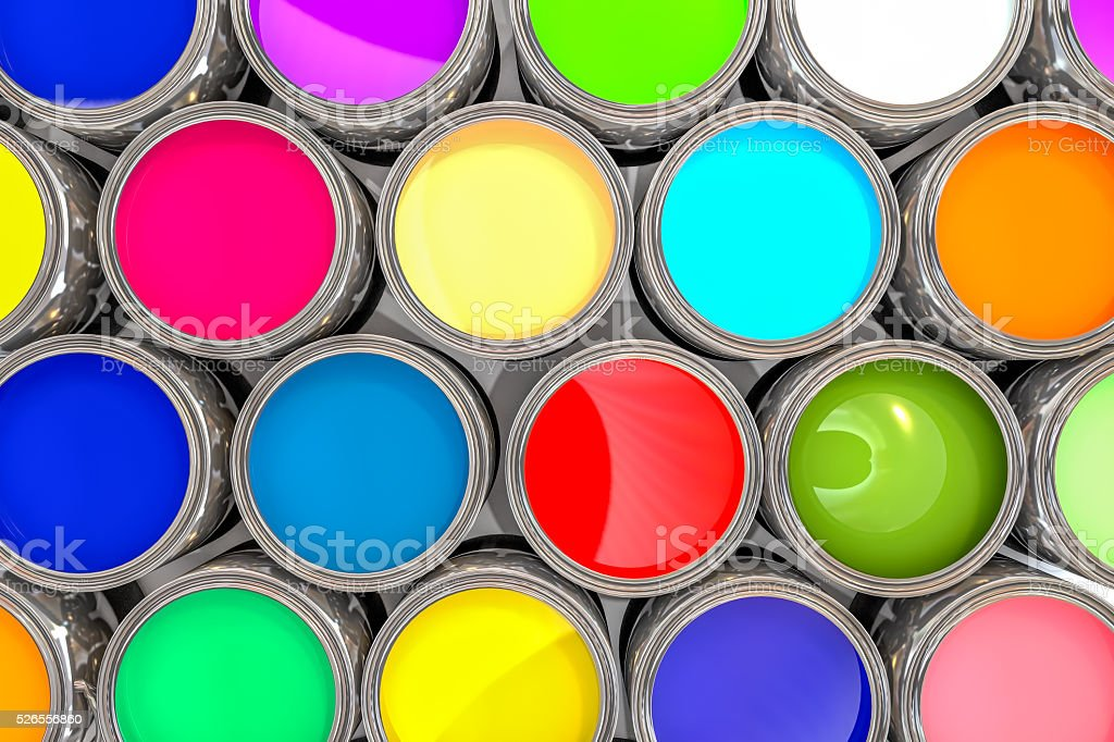3D rendering colored paint pot from the top stock photo