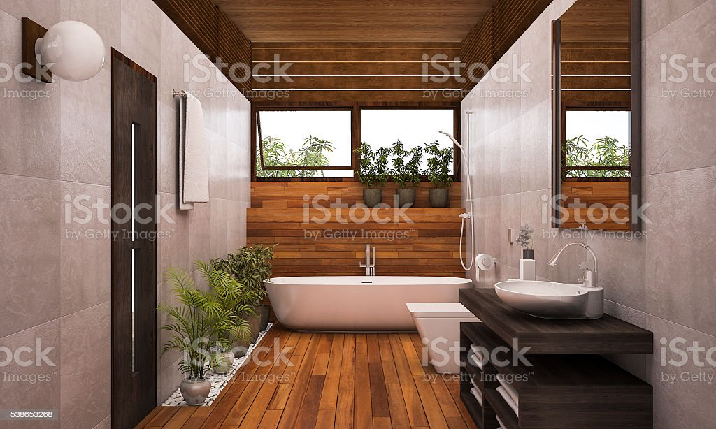 3D rendering contemporary wood bathroom with plants stock photo