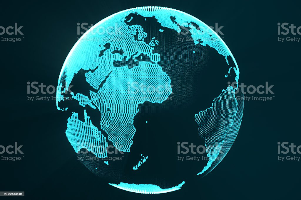 rendering digital Earth hologram concept. Technology image of globe blue stock photo