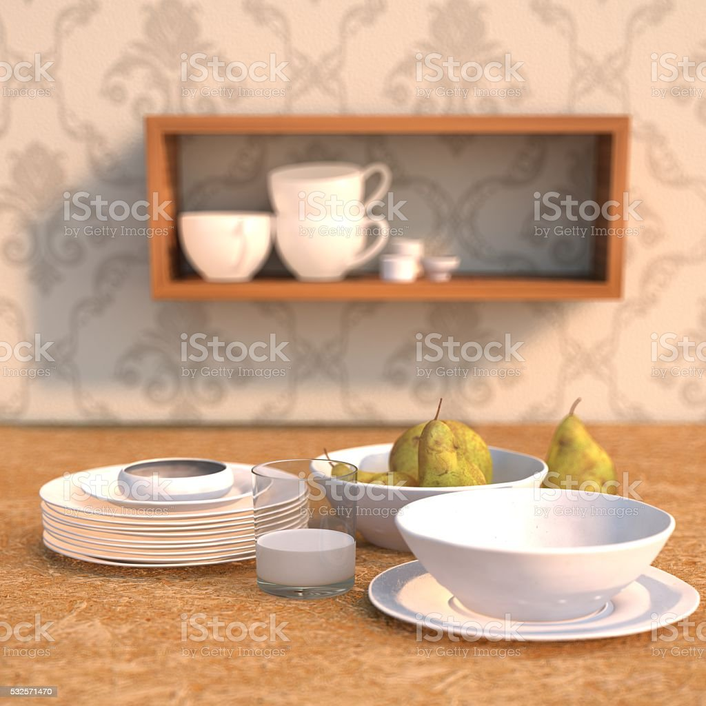 3D rendering Dining table scenected stock photo