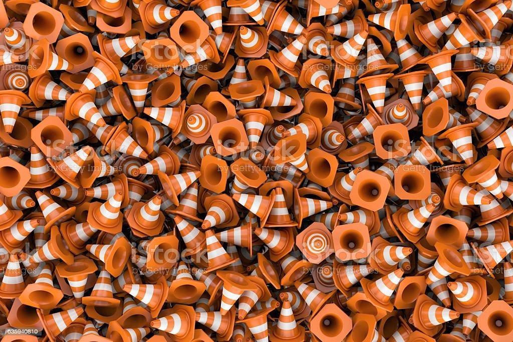 Rendering endless pile of orange plastic traffic cones stock photo
