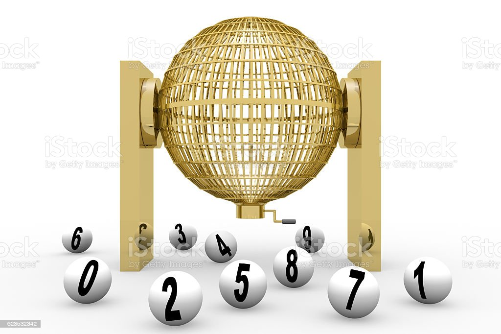 3D rendering golden lottery cage stock photo
