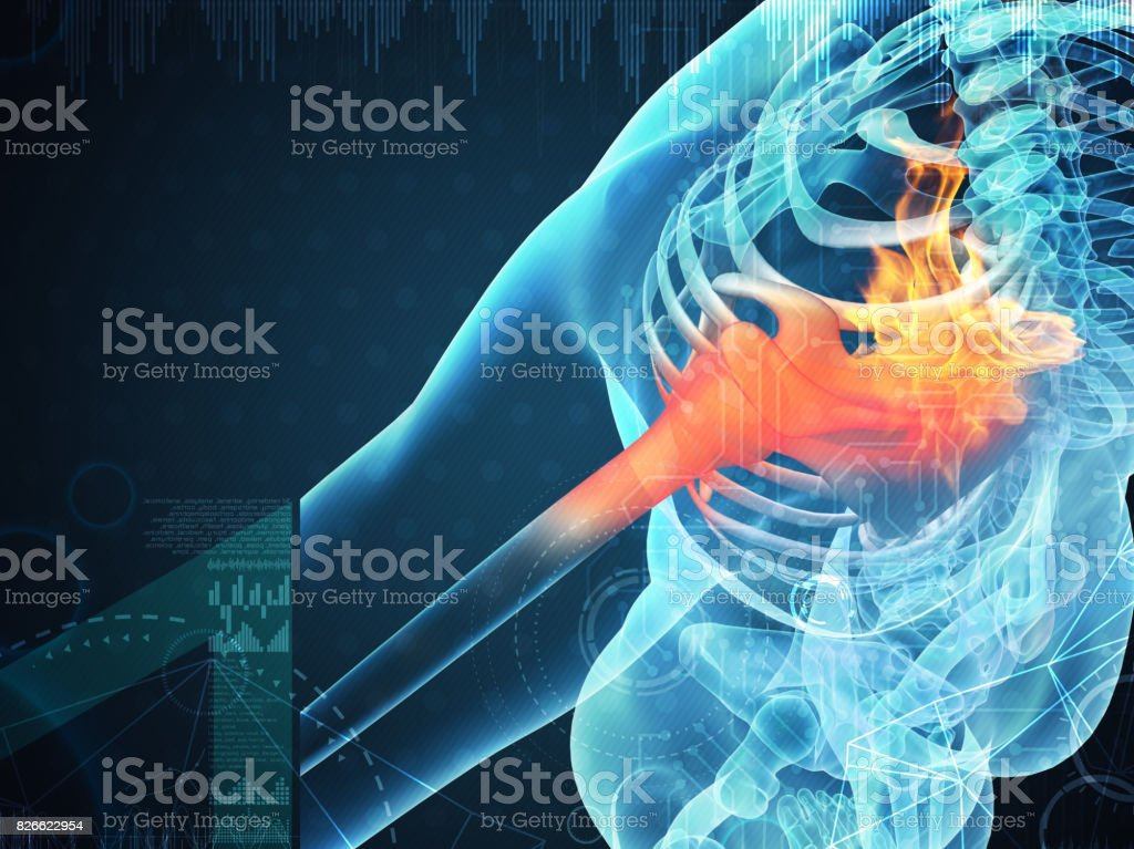 3D rendering human shoulder pain with the anatomy of a skeleton shoulder stock photo