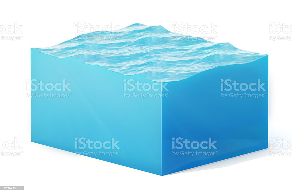 rendering illustration of cross section  water cube isolated on white stock photo