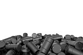 Rendering large pile of black oil barrels isolated on white