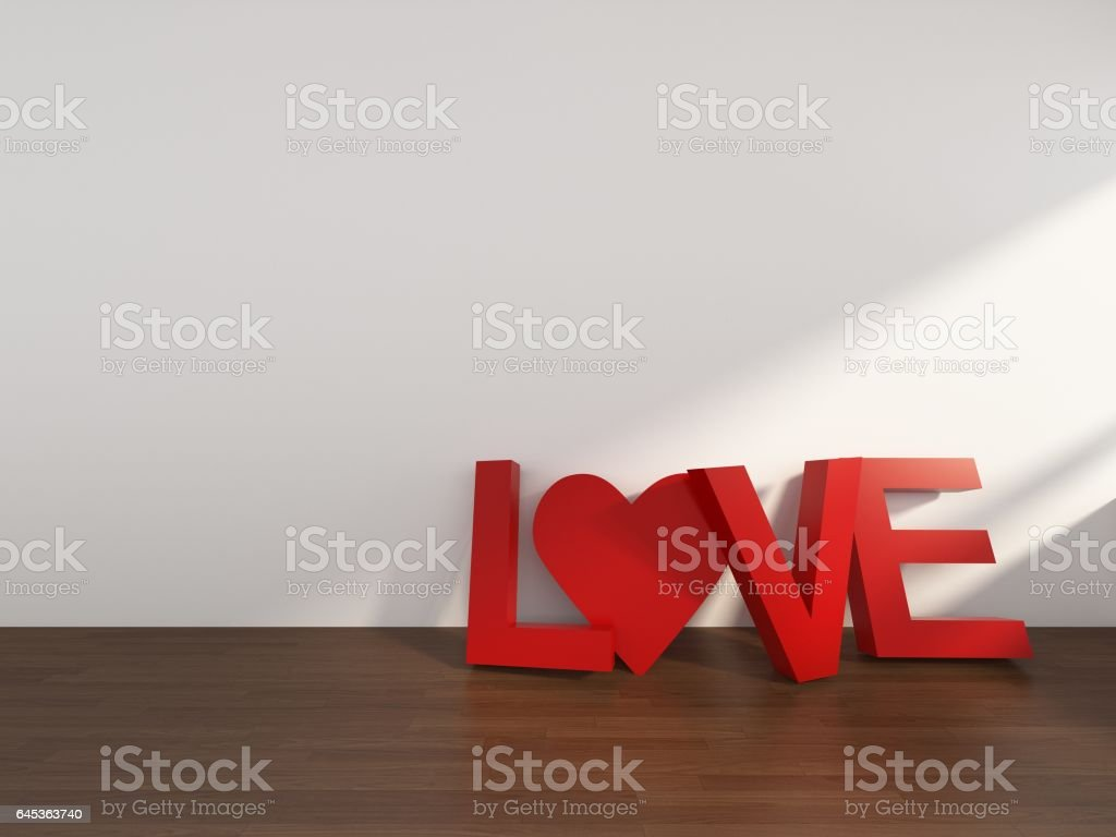 3D Rendering Love Text in a room with white wall,Valentine's day, illustration stock photo