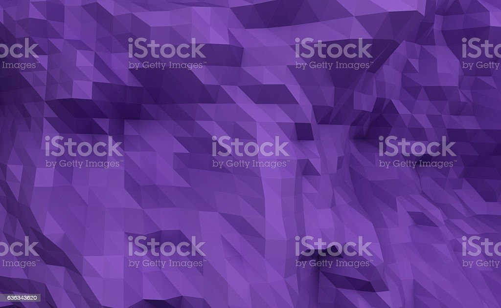 3D rendering low polygon background purple illustration stock photo