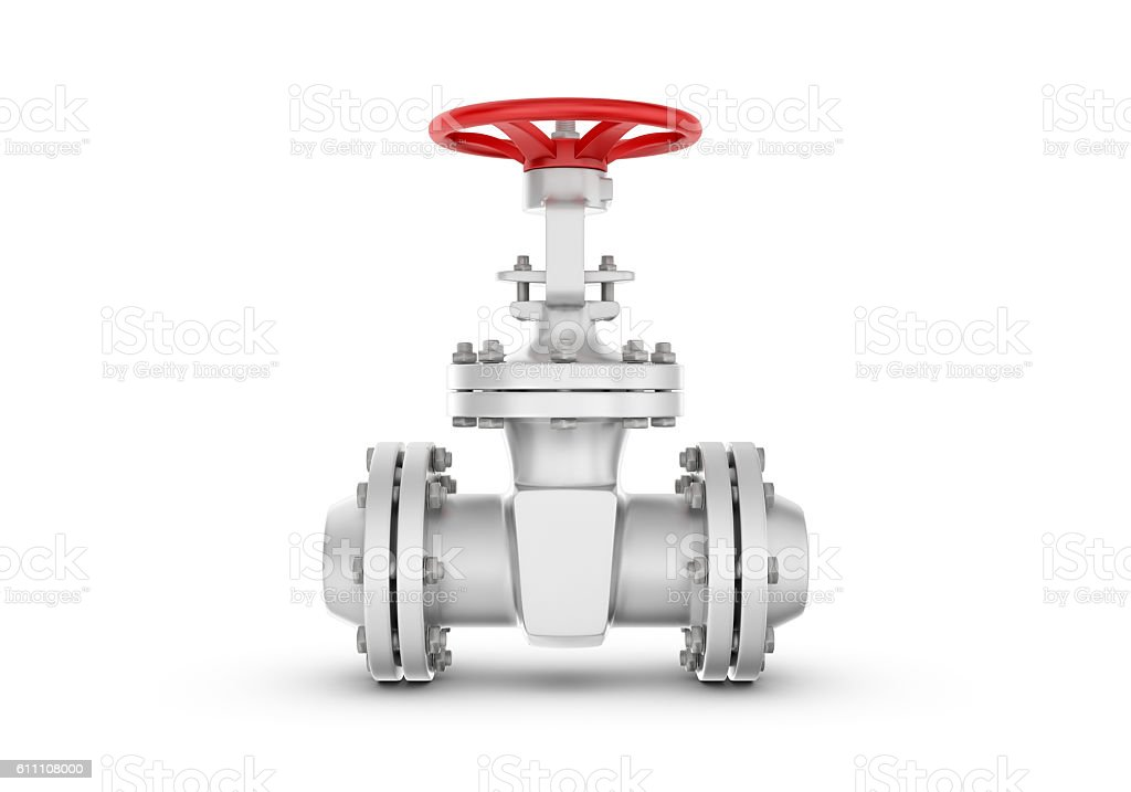 Rendering metal valves isolated on white background. stock photo